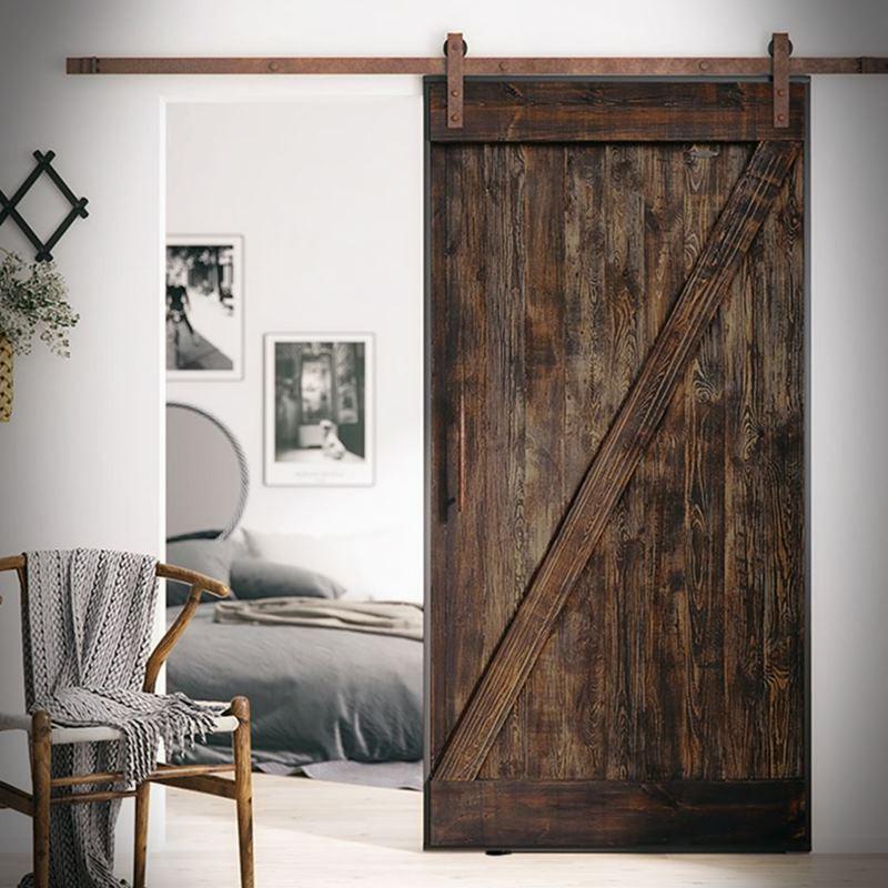 Borovicové dveře v ocelovém rámu Z, hnědé