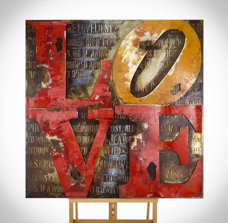 Železný 3D obraz SCRIPT LOVE