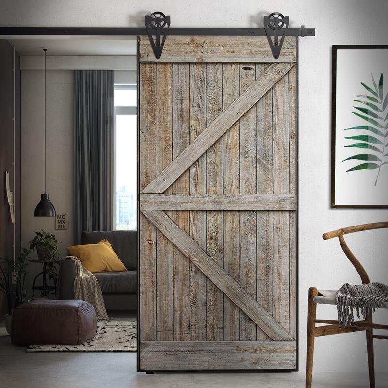 Borovicové dveře v ocelovém rámu ARROW, šedé