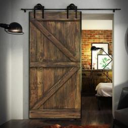 Borovicové dveře v ocelovém rámu 2xZ hnědé