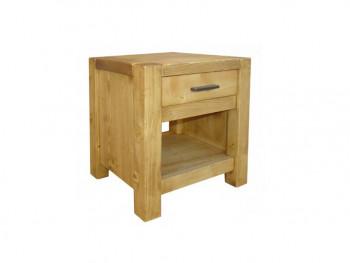 Dřevěný noční stolek se zásuvkou