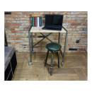 biurko z metalu i drewna