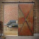 plechové dveře v ocelovém rámu, pojízdné