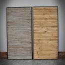 borovicové dveře šedé a hnědé v kovovém rámu